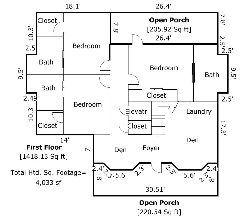 207 Row Boat Row Floor Plan 1