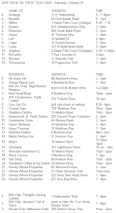 Trick or Treating Trail - List of Participating Homes with Times